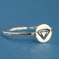 Hand Stamped Whimsical Diamond Ring - - Sterling Silver