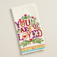 Embroidered You Are So Loved Kitchen Towel