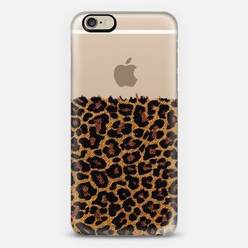 Classic Faux Denim Leopard Transparent iPhone 6 case by Organic Saturation | Casetify