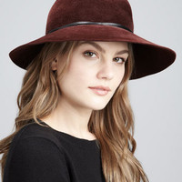 Moxi Lightweight Velour Hat, Burgundy
