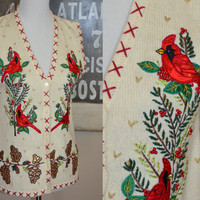 Amazing Christmas Sweater Vest with Cardinals, Sequins, Beads, Gold Thread - Small to Medium