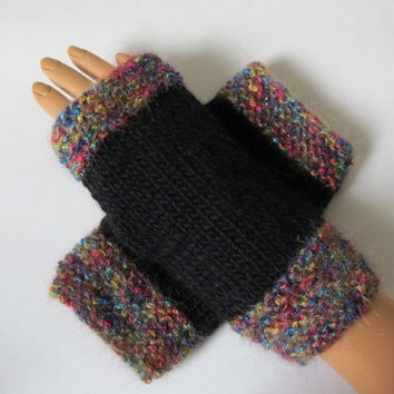 Black Fingerless Alpaca Texting Mittens, Gloves, Mohair Blend Trim, Handmade
