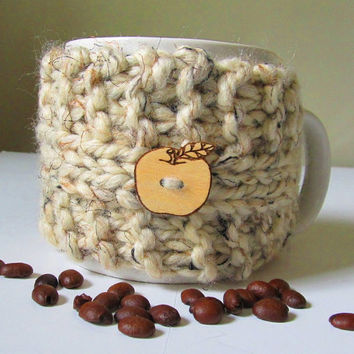Coffee Mug Cozy, Tan Tweed Wool Blend, Handmade
