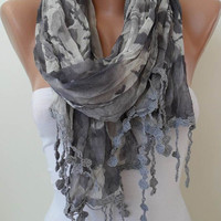 Autumn Trend  - Grey Linen Scarf  with Trim Edge