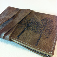forest leather passport case cover handprinted custom for you