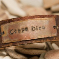Carpe Diem Leather cuff bracelet, distressed,EXPRESS MAIL option on this listing