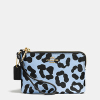 CORNERzip wristletin ocelot print crossgrain leather
