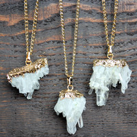 clear crystal quartz druzy bohemian necklace