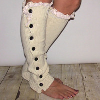 SALE  SALE Button  Cream Legwarmer Boot Sock