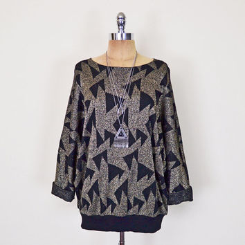 Vintage 80s Metallic Gold & Black Geometric Print Sweater Jumper Top Batwing Sweater Batwing Sleeve Sweater Slouchy Oversize Sweater S M L
