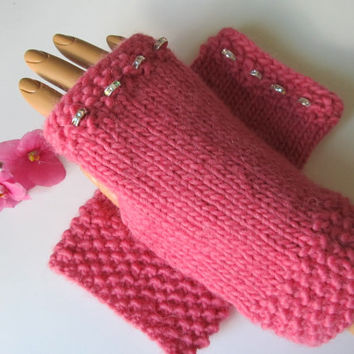 Pink Alpaca and Wool Fingerless Texting Mittens, Rhinestone-Studded Bands, Handmade