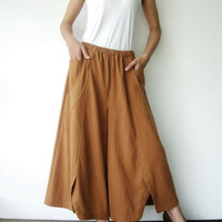 NO.41   Mustard Cotton Wide Leg Pants
