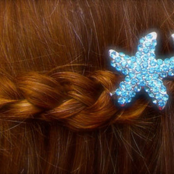 Starfish Bobby Pins-SET OF 2-Tiffany Aqua Blue, Bridal Hair Pins, Beach Bride, Mermaids, Starfish Hair, Vegan Friendly, Destination Wedding