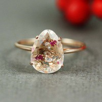 Pink Gold White Quartz Ruby White CZ Oval Ring