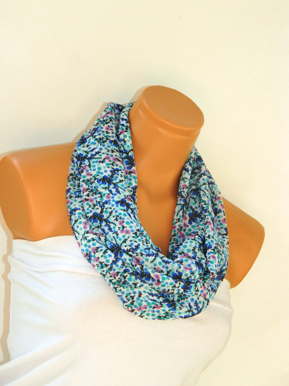 Blue Floral Infinity Scarf Silky Chiffon Loop Infinity Scarves. Circle Scarf Gray Fabric. Womens Accessories.