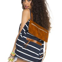 Navy stripe leather flap backpack