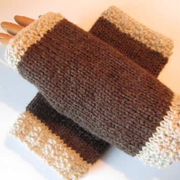Men's Natural Undyed Wool Fingerless Texting Gloves, Mittens, Coffee and Cream, Handmade