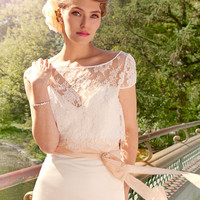 "French Lace and Duchess Satin Mermaid Wedding Gown, ""Ann-Marie"", Cap Sleeve, Sweetheart strapless bustier, train, Mix and Match Customizable"