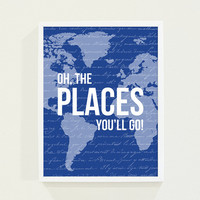 Royal Blue Boys Nursery Art - Oh, The Places You'll Go Olympic Blue - Map Nursery Decor Wall Art Poster in Navy Blue for Boys Room Dr. Seuss