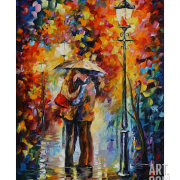 Kiss Under The Rain Giclee Print by Leonid Afremov at Art.com