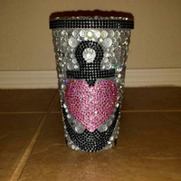 Handmade Bedazzled Rhinestone Tumbler Cups Heart with Anchor Heart