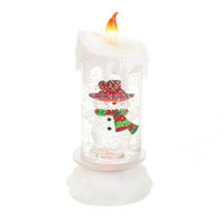 Snowman Snowglobe Flameless Candle