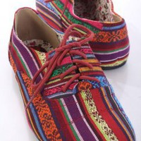 Tribal Multi Fabric Lace Up Tie Stitch Closed Toe Flats