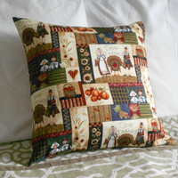 Fall pillow cover Autumn Decor Harvest Design Cushion 16 X 16