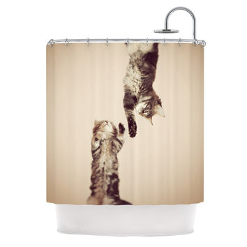 "Monika Strigel ""Upside Down"" Brown Cats Shower Curtain - 69"" x 70"" / Polyester"