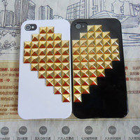 Fashion iPhone hard Case Cover with golden heart-shaped pyramid stud For iPhone 4 Case, iPhone 4S Case,iPhone 4 GS case ,case cover  -157
