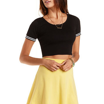 Striped Cuff Short Sleeve Crop Top by Charlotte Russe - Black