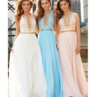 Madison James Blue Chiffon Metallic Belted Gown With Gold Studded Bodice Prom 2015