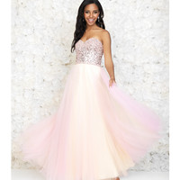 Pink & Yellow Beaded Strapless Tulle Dress
