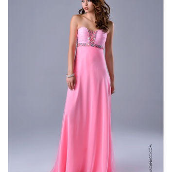 Preorder - Nina Canacci Ruched Strapless Embellished Pink Gown Prom 2015