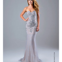 Preorder - Nina Canacci Strapless Silver Embellished Lace Gown Prom 2015