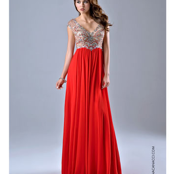 Preorder - Nina Canacci Red Sheer Embellished Bodice Gown Prom 2015