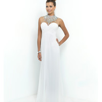 Blush Prom White Sheer Beaded High Neck Sweetheart Chiffon Gown Prom 2015