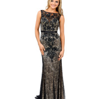 Black & Nude Beaded Lace Sleeveless Fitted Long Dress Prom 2015