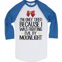 Fighting Evil By Moonlight-Unisex White/Lake Blue T-Shirt
