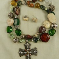Cross Necklace Chunky Bold Double Strand Green Brown Magnesite Jasper