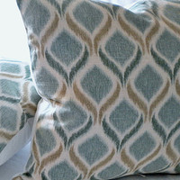 Decorative Teal Ikat pillow cover 16 x 16