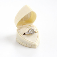 Vintage Celluloid Heart Shaped Ring Box - Art Deco 1930s 1940s Cream Colored Proposal Presentation Box