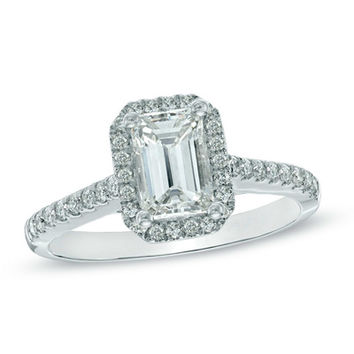 1-1/3 CT. T.W. Certified Emerald-Cut Diamond Frame Engagement Ring in 14K White Gold (H-I/I1)