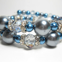 Wrap Bracelet Grey and Blue Crystal Rhinestone Memory Wire Bracelet