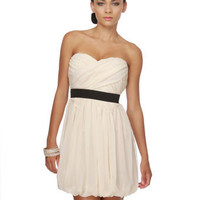 Birch Paper Letters Strapless Ivory Dress