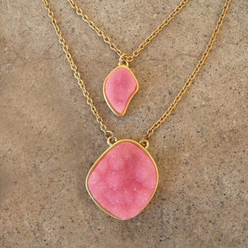 Double Peony Druzy Necklace [3301] - $21.00 : Vintage Inspired Clothing & Affordable Summer Dresses, deloom | Modern. Vintage. Crafted.