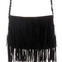 Black Fringe Knit Strap Shoulder Bag - Goods - Retro, Indie and Unique Fashion