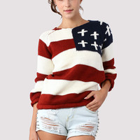 Strips Flag Knit Jumper - Retro, Indie and Unique Fashion