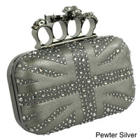 Trend Essentials Black Union Jack Knuckle Ring Clutch | Overstock.com