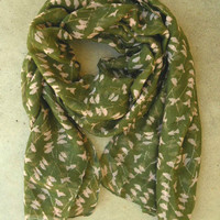 On a Perch Scarf in Olive [3254] - $14.00 : Vintage Inspired Clothing & Affordable Summer Dresses, deloom | Modern. Vintage. Crafted.
